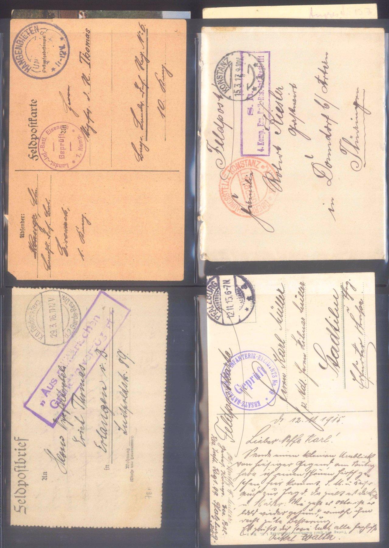 Sammlung Feldpostbelege und Feldpoststempel des WK I-16