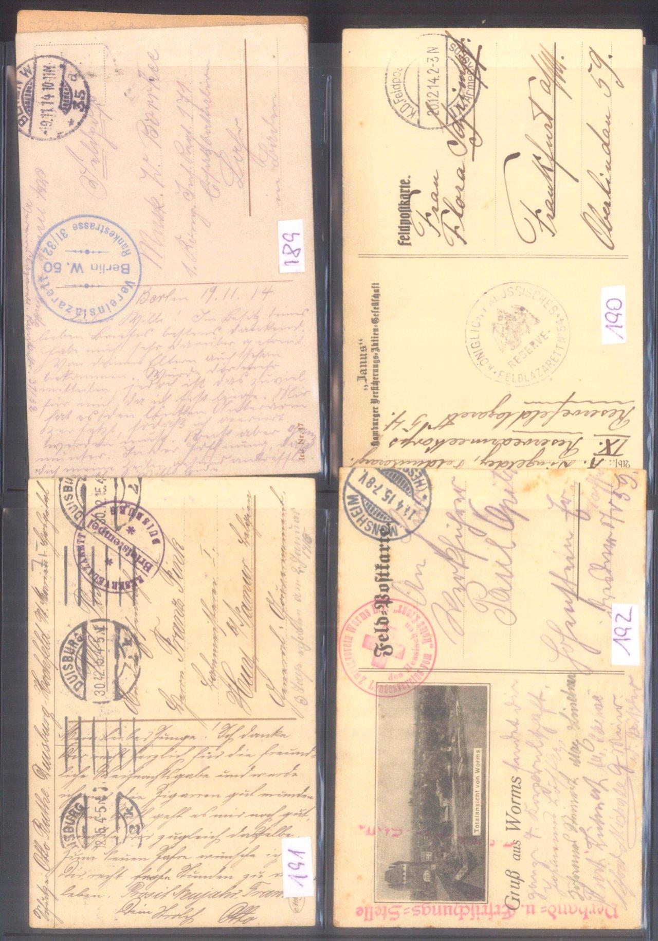 Sammlung Feldpostbelege und Feldpoststempel des WK I-17