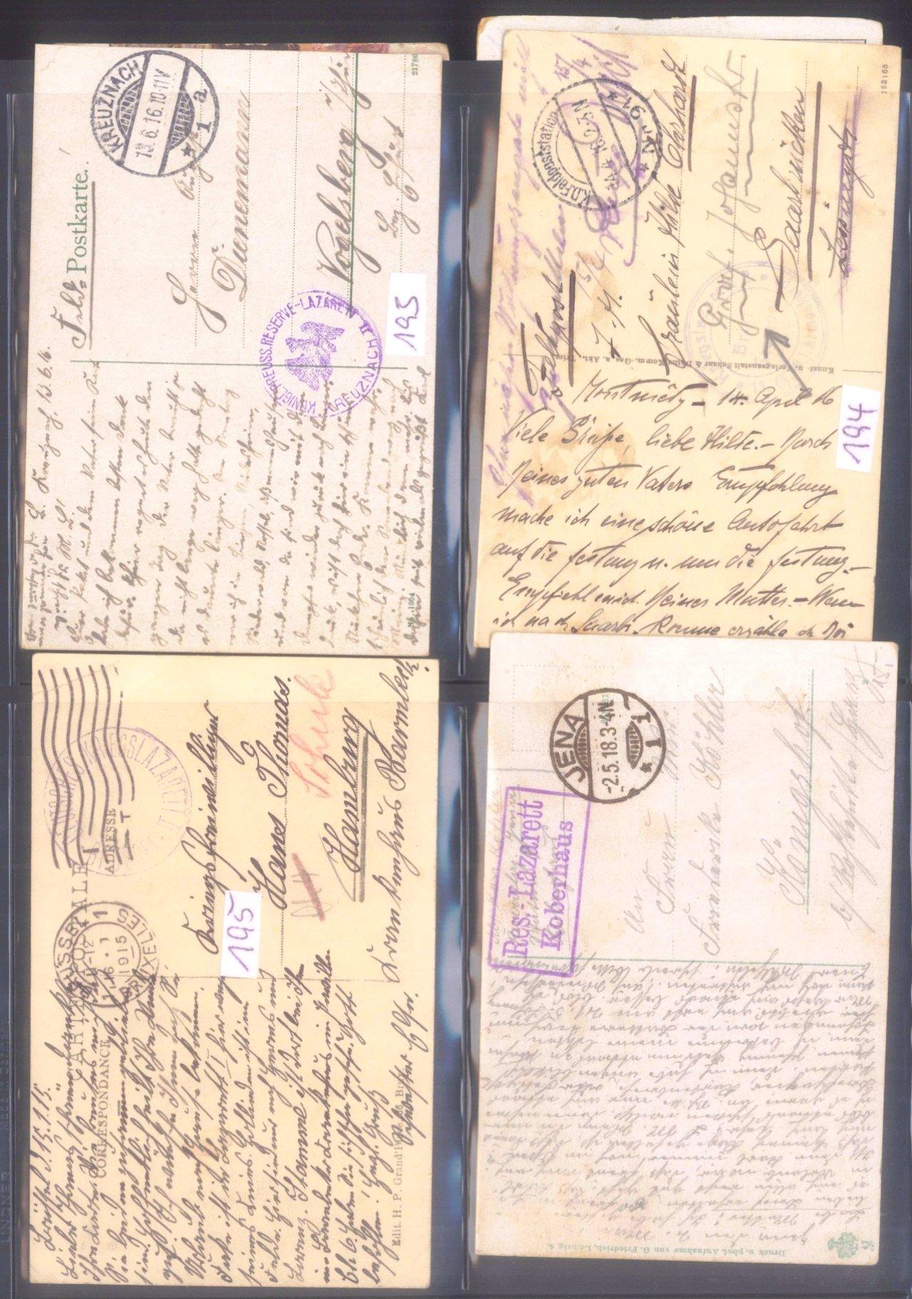 Sammlung Feldpostbelege und Feldpoststempel des WK I-18