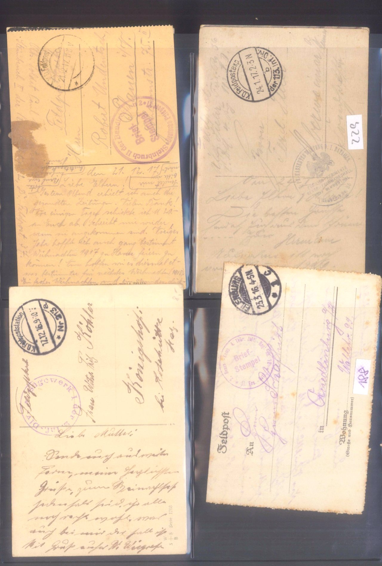 Sammlung Feldpostbelege und Feldpoststempel des WK I-20
