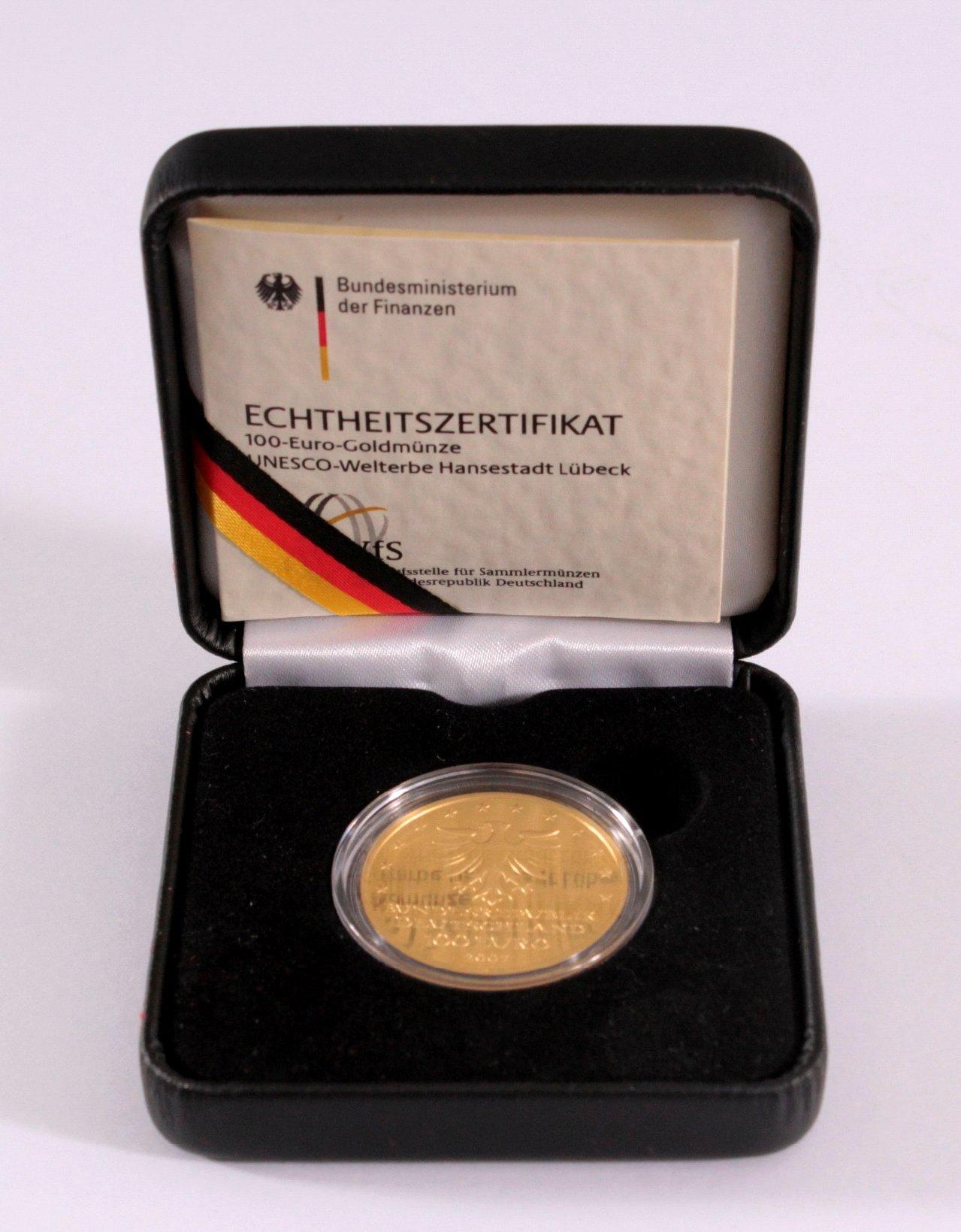 Goldmünze 100 Euro Hansestadt Lübeck-2