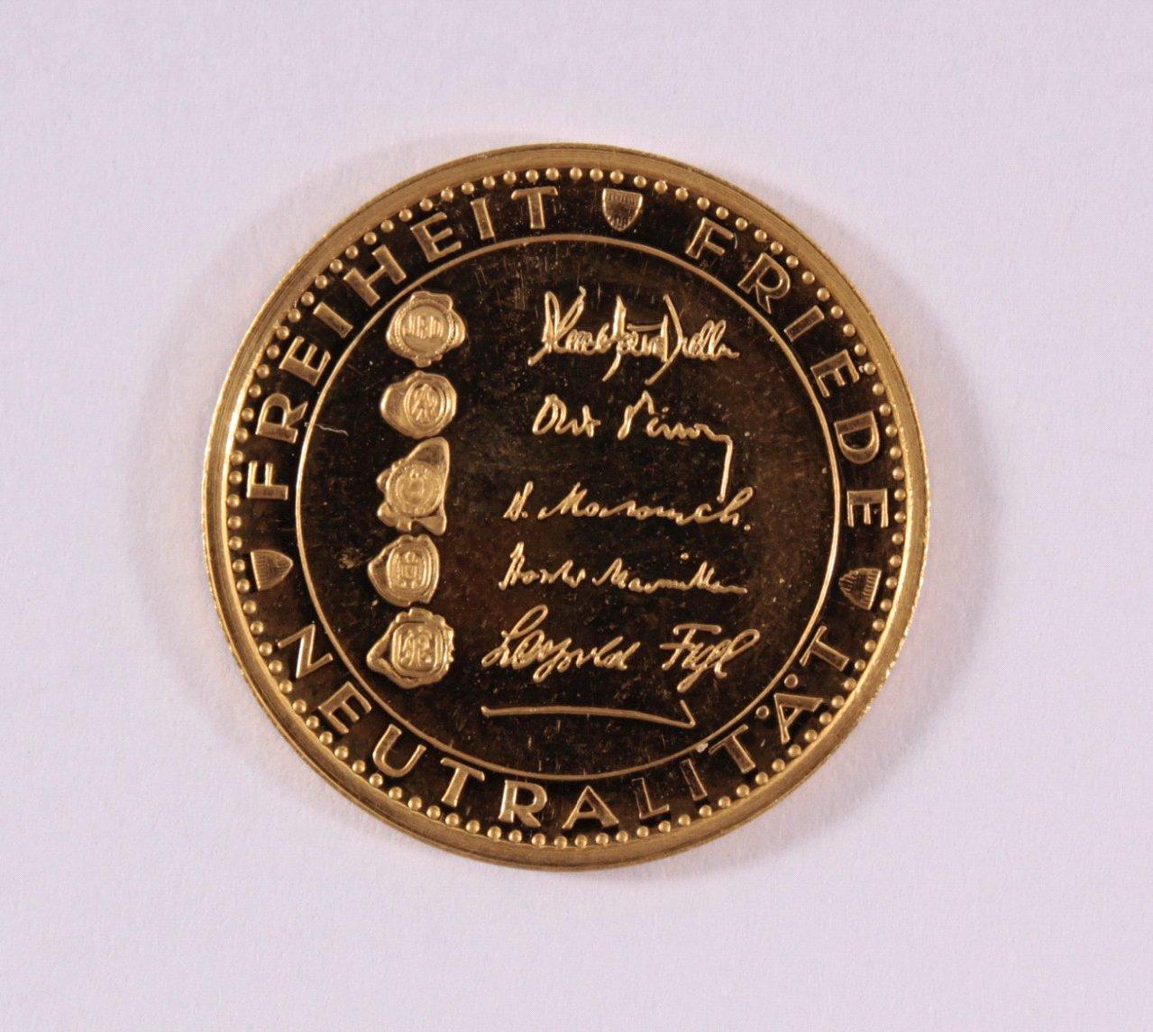 Goldmedaille 986/000 GG. 10 Jahre Österr. Staatsvertrag-1