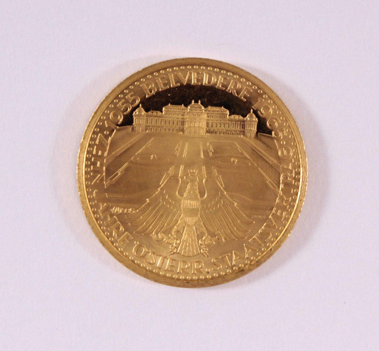 Goldmedaille 986/000 GG. 10 Jahre Österr. Staatsvertrag