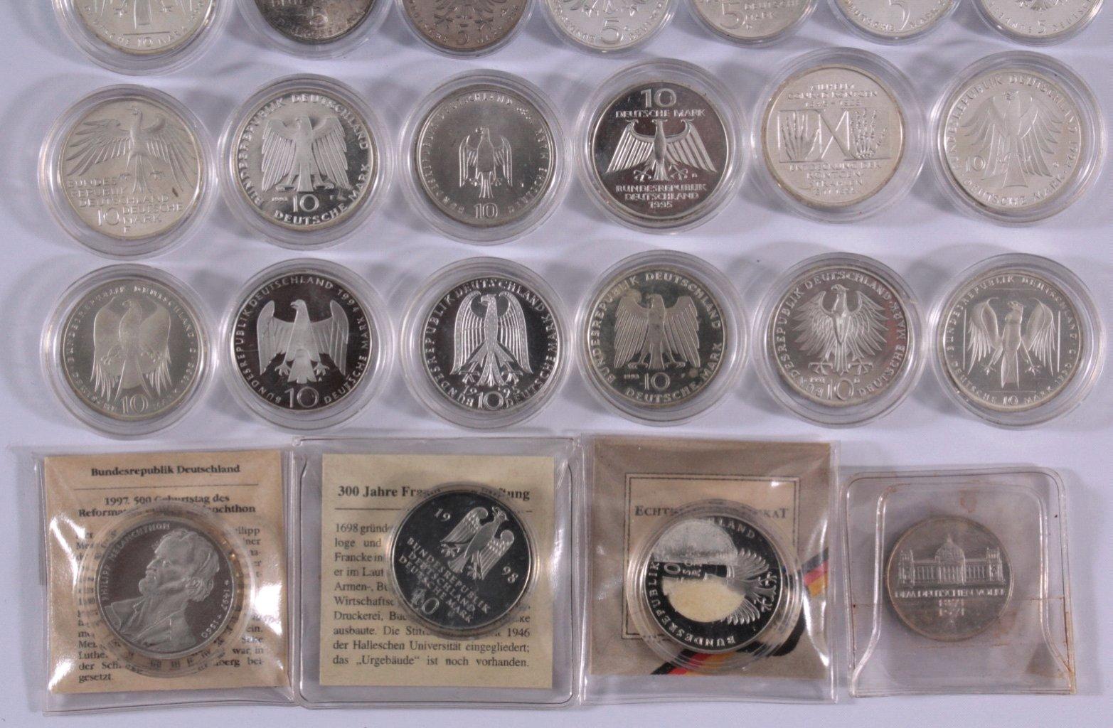 Kleine Sammlung 10 Dm Münzen 235 Deutsche Mark Badisches