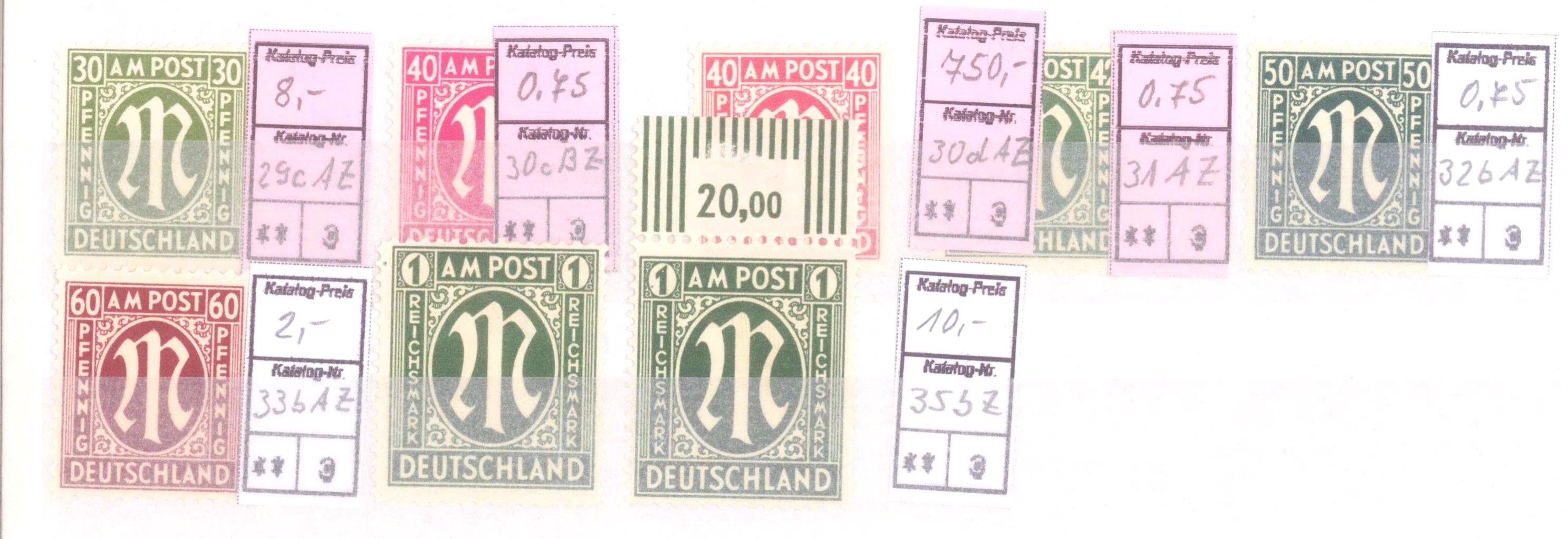 Typensammlung AM Post und Zwangszuschlagsmarke-9