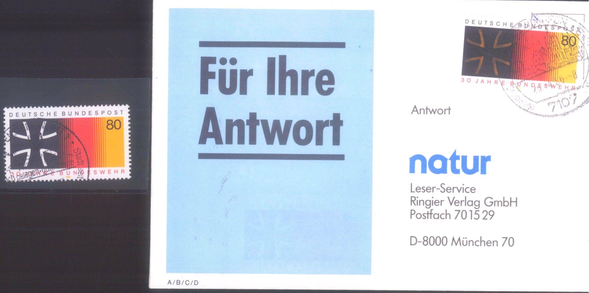Bund Nr. 1266, 1985 Farbfehler auf Brief