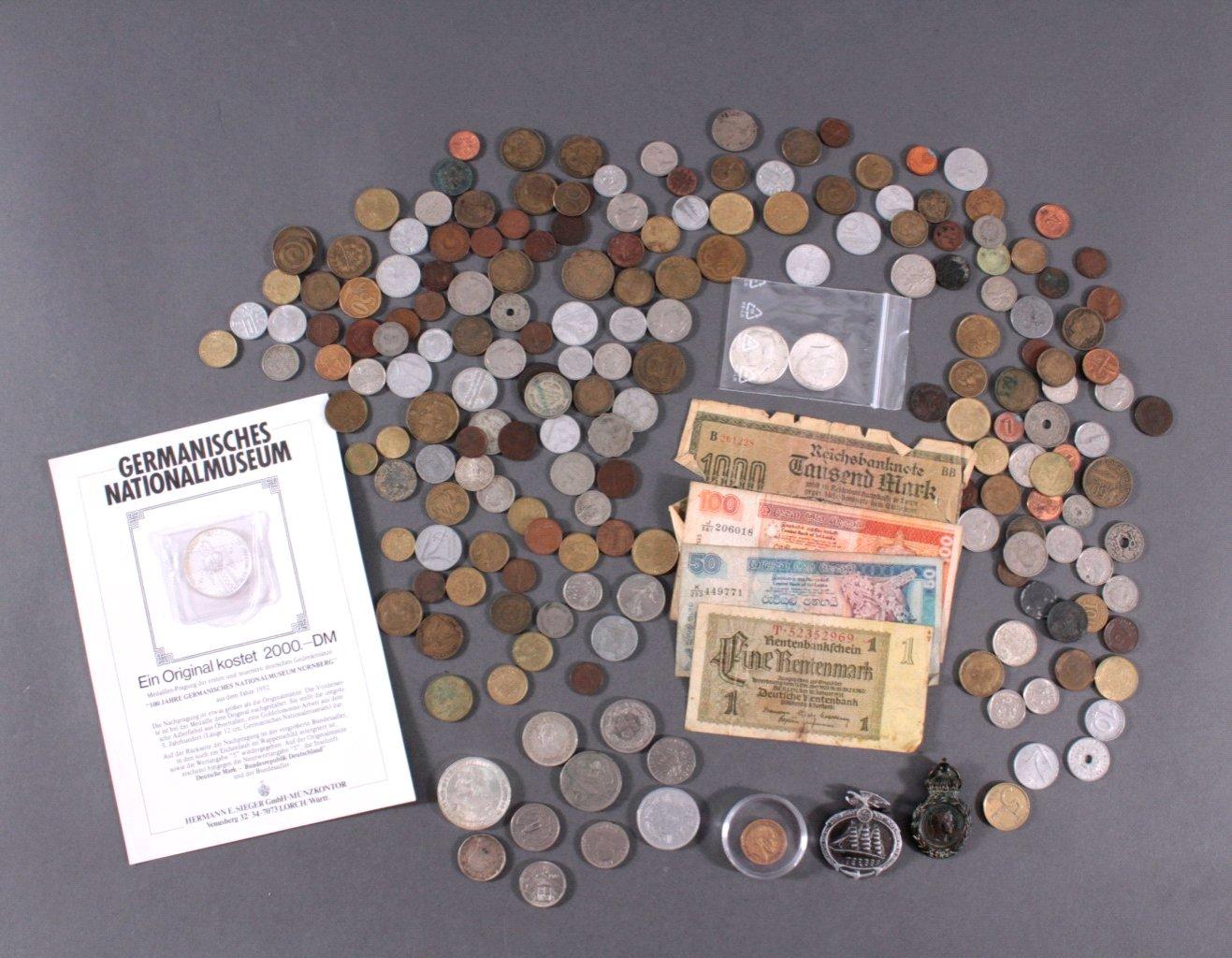 Konvolut Münzen Alle Welt mit 20 Mark Goldmünze von 1873