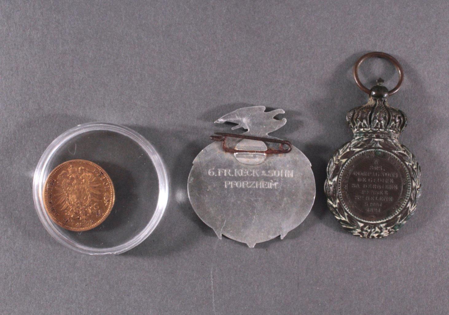 Konvolut Münzen Alle Welt mit 20 Mark Goldmünze von 1873-4