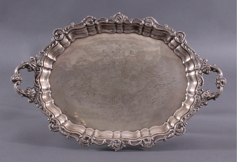 Großes Silber-Tablett, Spanien 1. Hälfte 20. Jh.