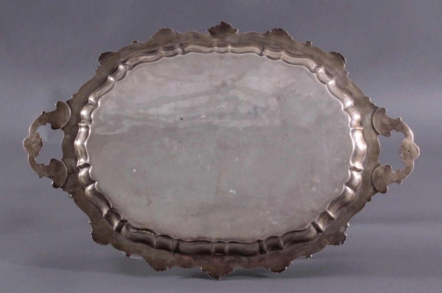 Großes Silber-Tablett, Spanien 1. Hälfte 20. Jh.-1