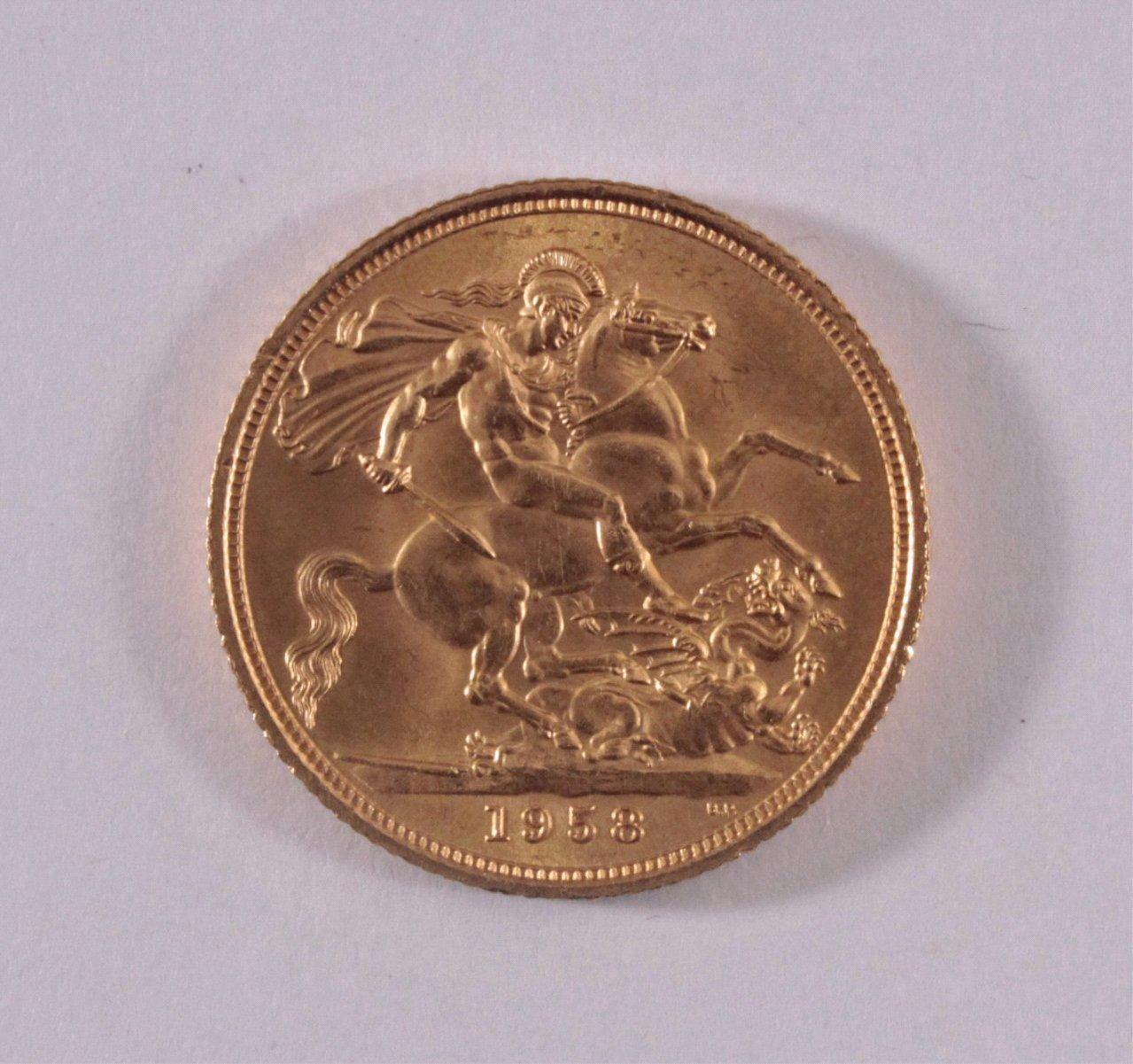 Großbritannien. 1 Sovereign Elisabeth II 1958-1