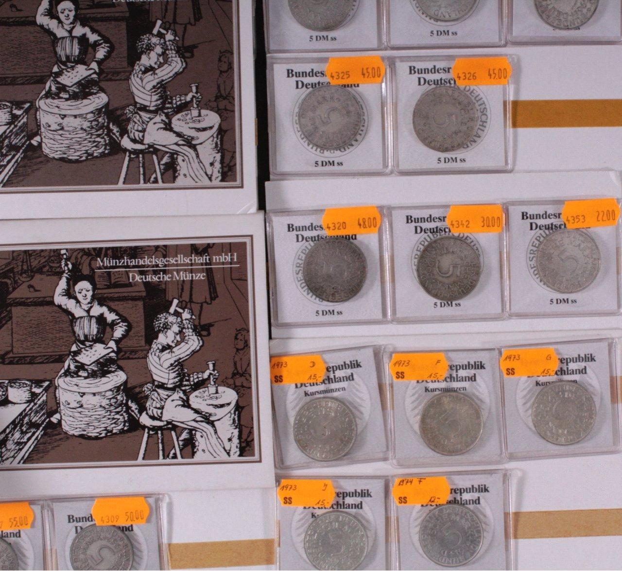 49x 5 Dm Münzen Heiermänner Silberadler Badisches Auktionshaus