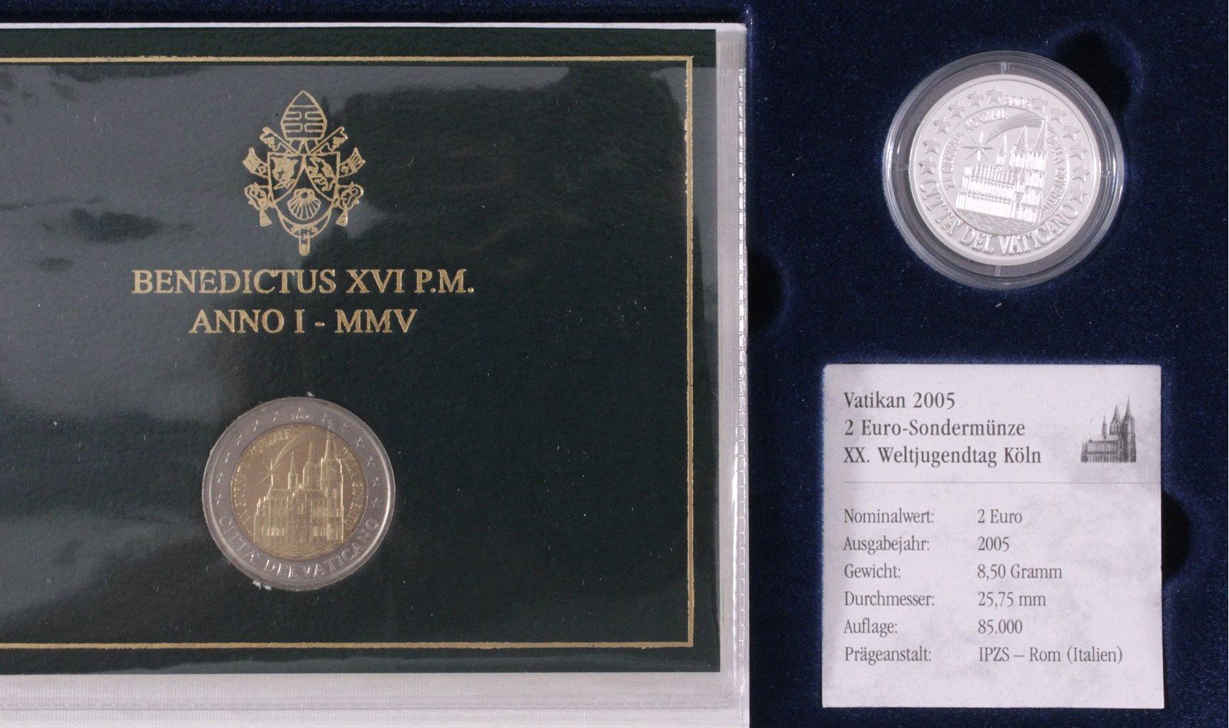 Vatikan 2 Euro Münzen Mit Silbergedenkprägung 2005 Badisches