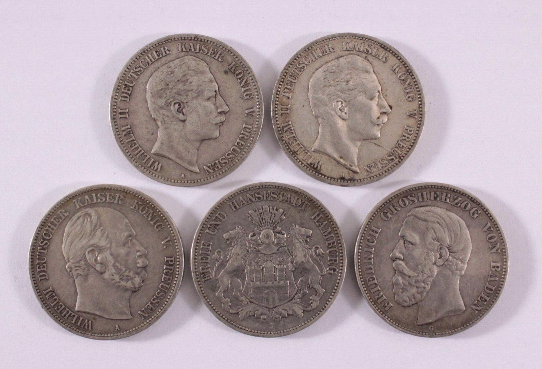 Konvolut 5 Silbermünzen Deutsches Reich, Kaiserreich