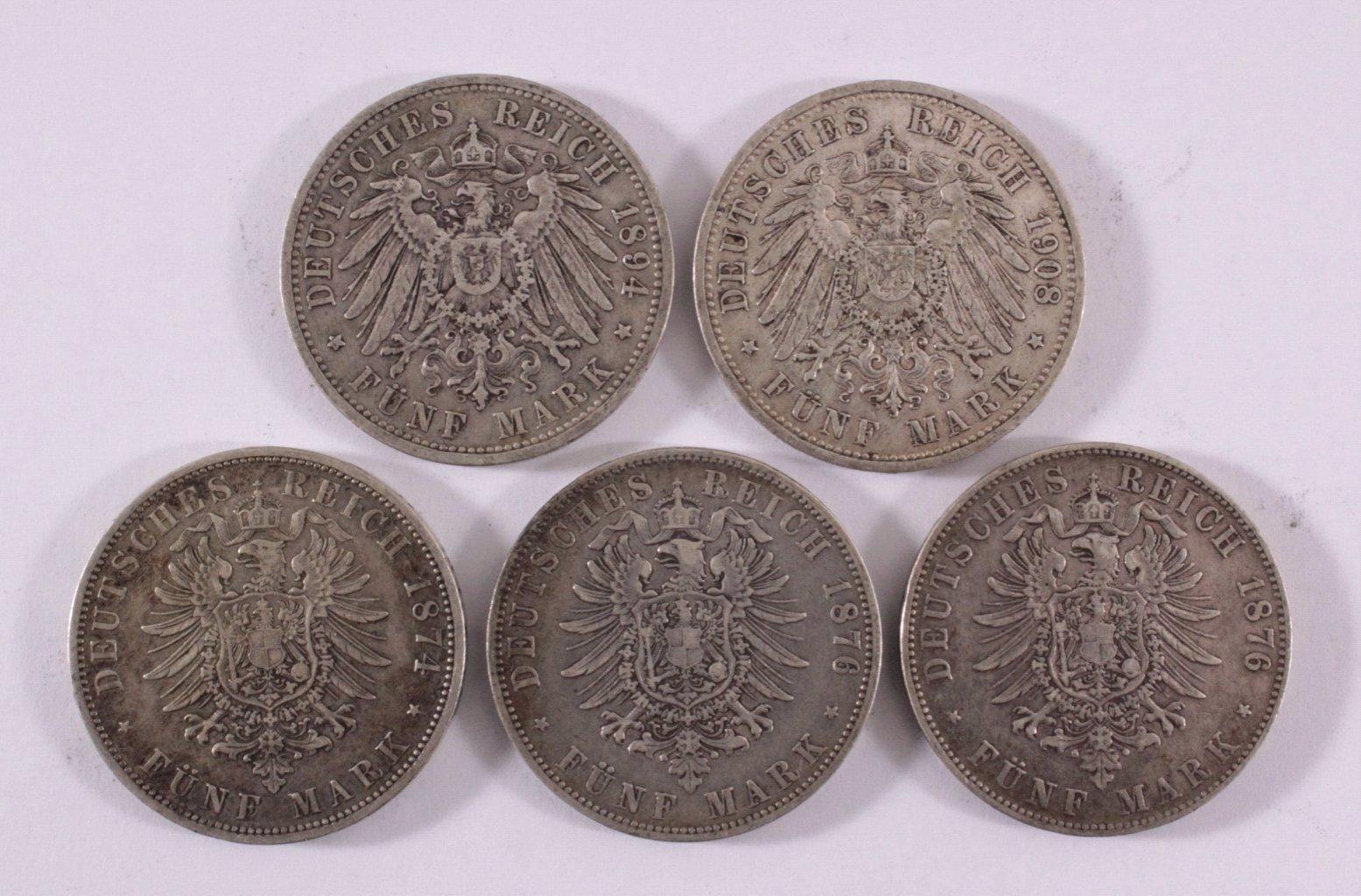 Konvolut 5 Silbermünzen Deutsches Reich, Kaiserreich-1