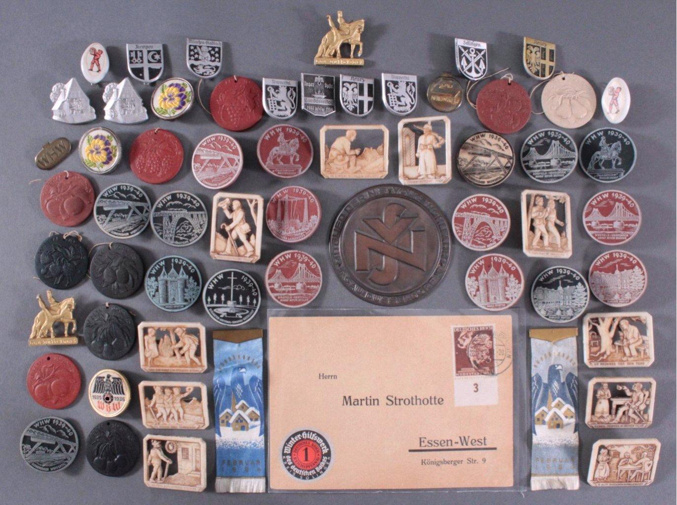 Ca. 60 WHW Abzeichen, Spendenbelege und Brief