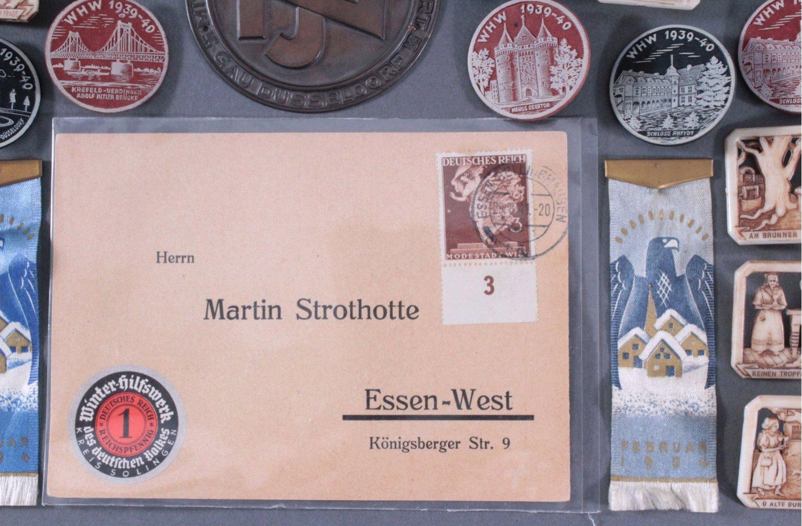 Ca. 60 WHW Abzeichen, Spendenbelege und Brief-3