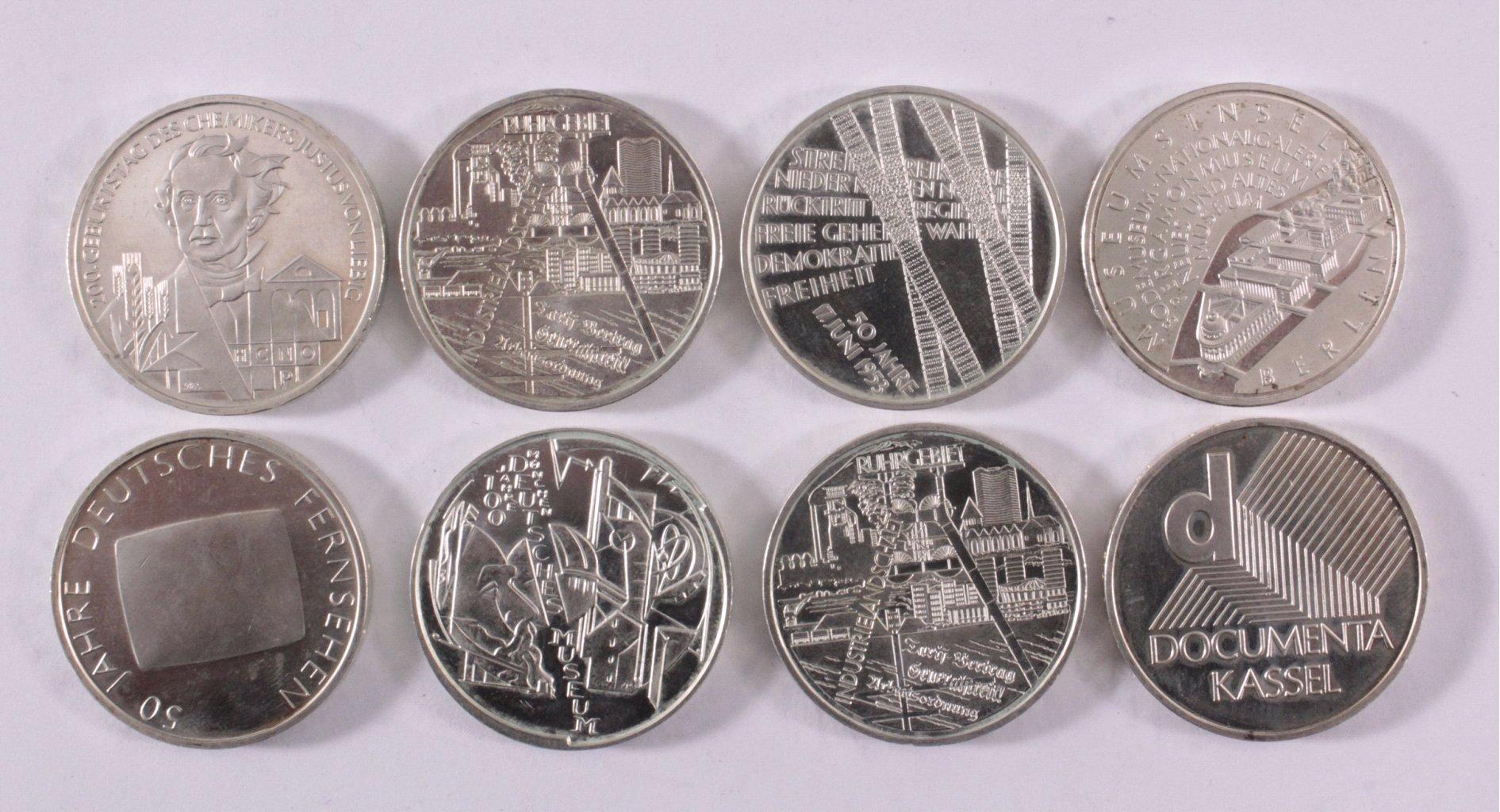 8 10-Euro Silbermünzen