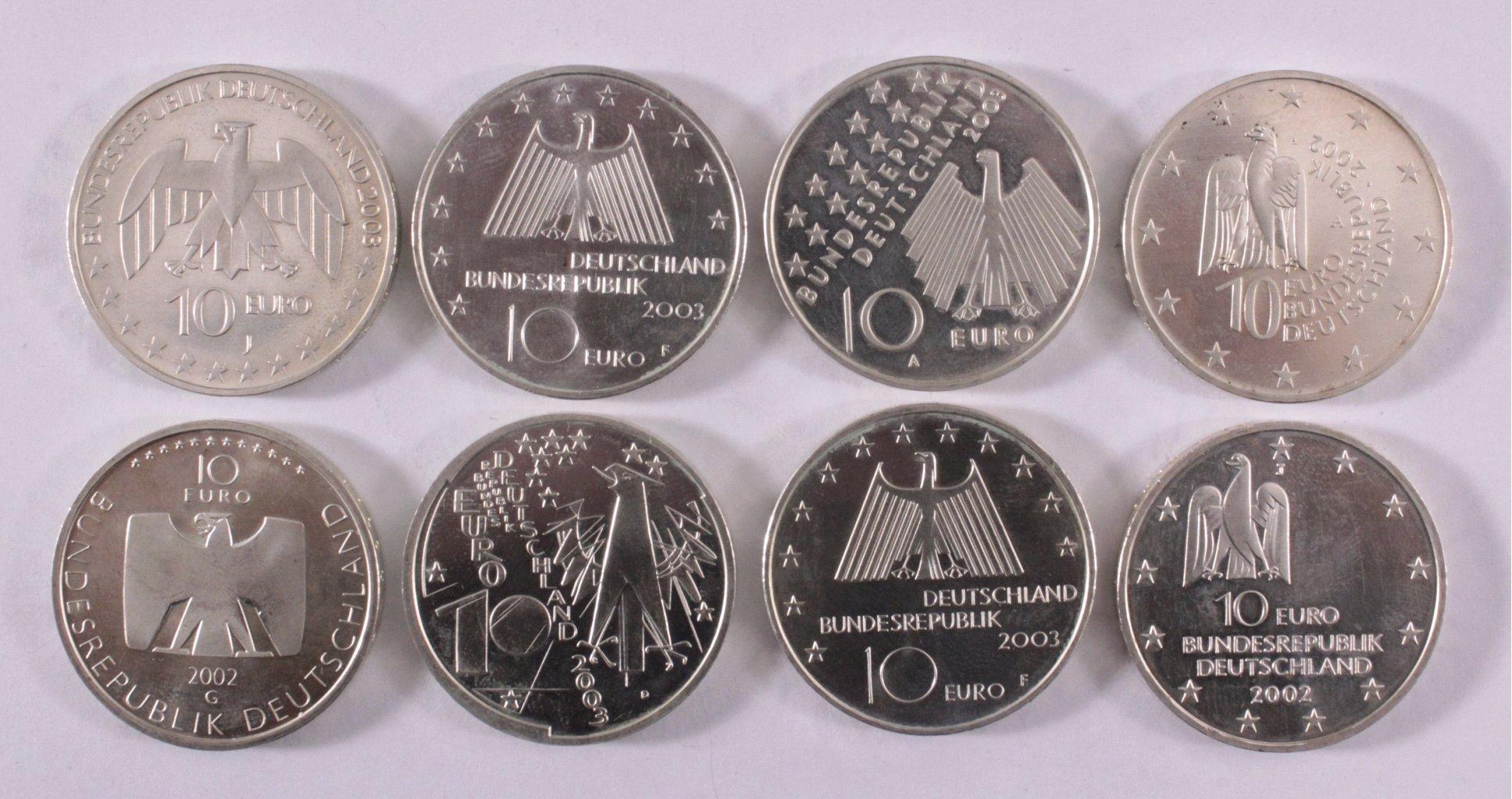 8 10-Euro Silbermünzen-1
