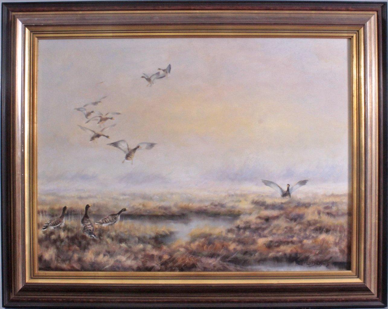 Paul W. Dahms 1913-1988, landende Wildenten im Moor