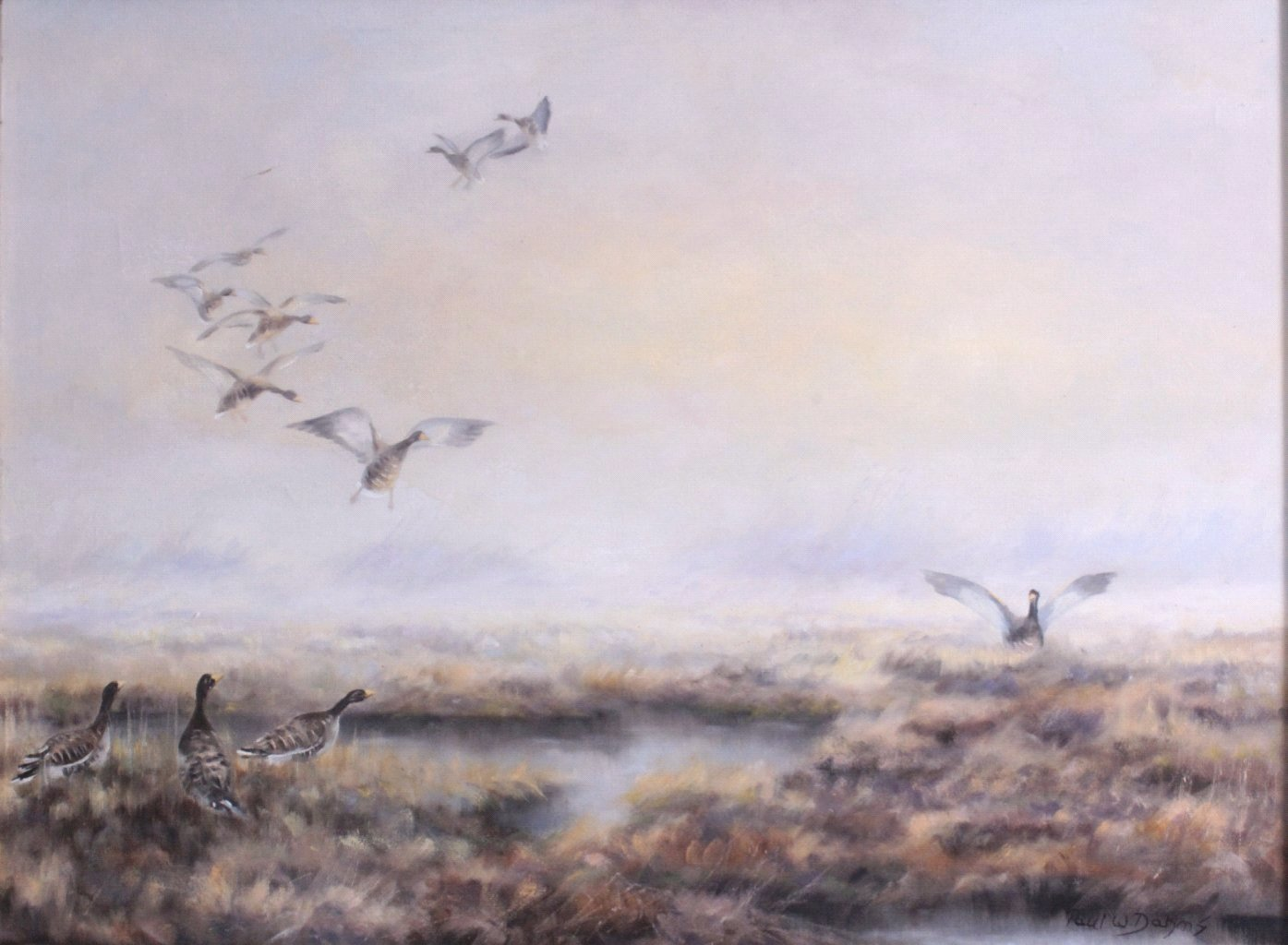 Paul W. Dahms 1913-1988, landende Wildenten im Moor-1