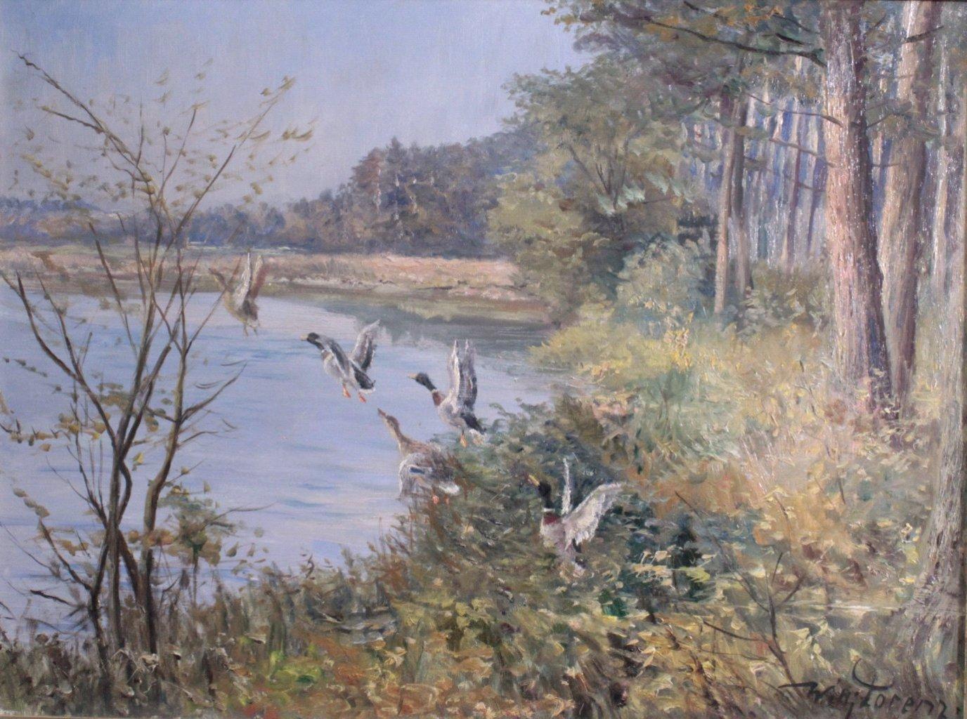 Willi Lorenz 1901-1981. Aufsteigende Enten am See-1