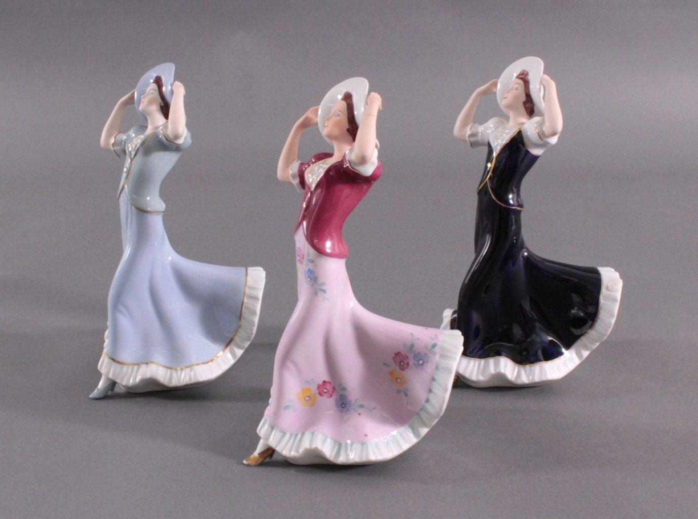 Drei Jugendstill Porzellanfiguren, Royal Dux Bohemia