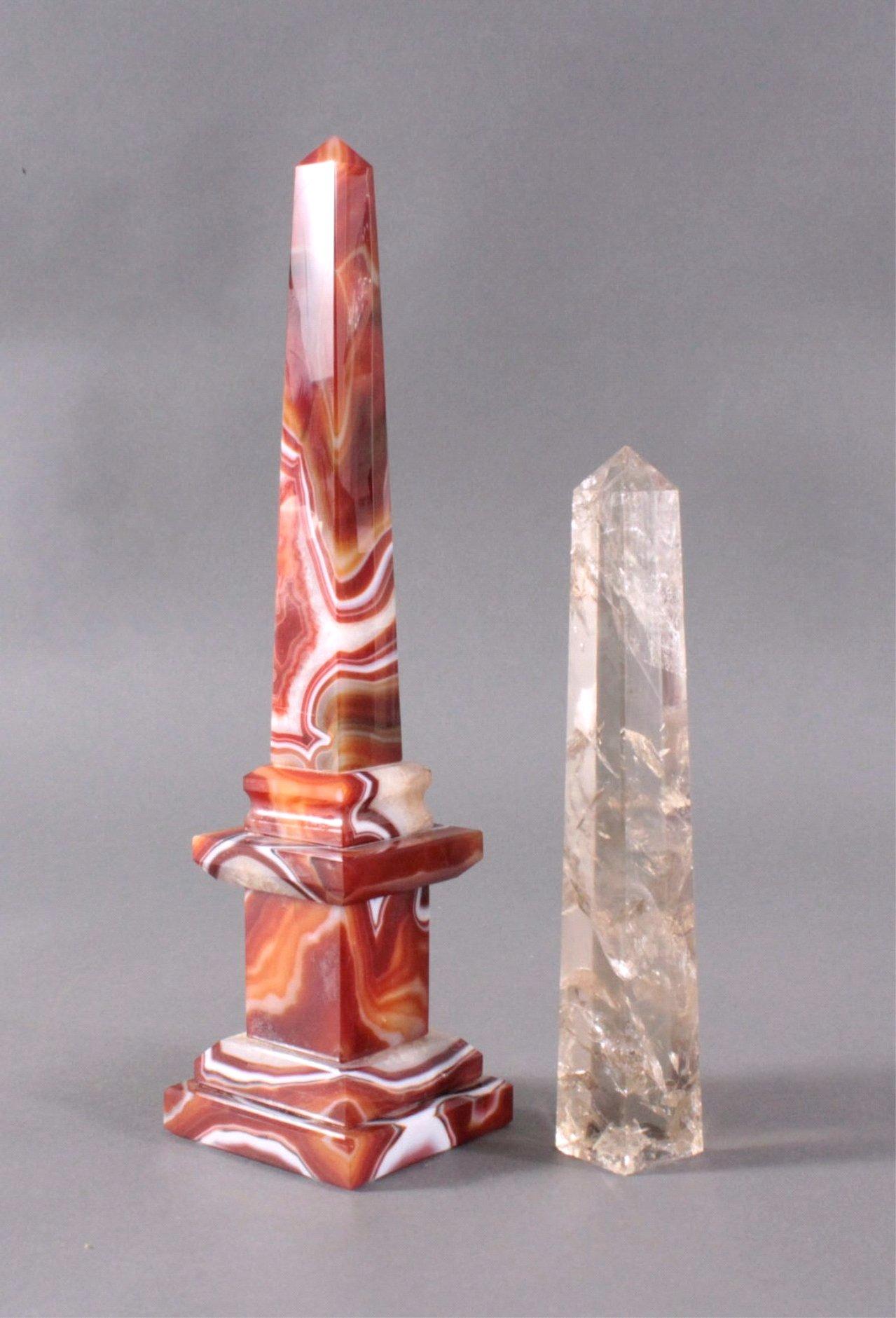 Achat und Rauchquarz Obelisken