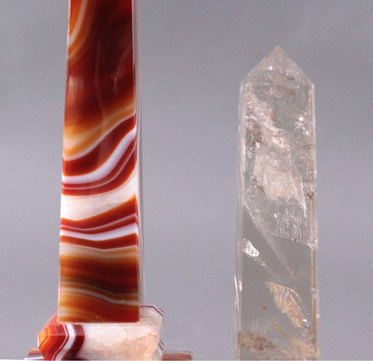 Achat und Rauchquarz Obelisken-2