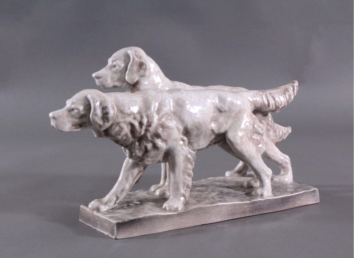 Figurengruppe Hunde, Karlsruher Majolika 1. Hälfte 20. Jh.