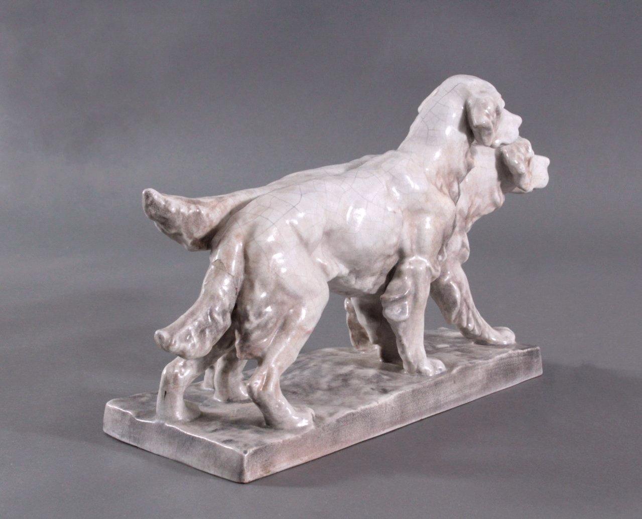 Figurengruppe Hunde, Karlsruher Majolika 1. Hälfte 20. Jh.-2