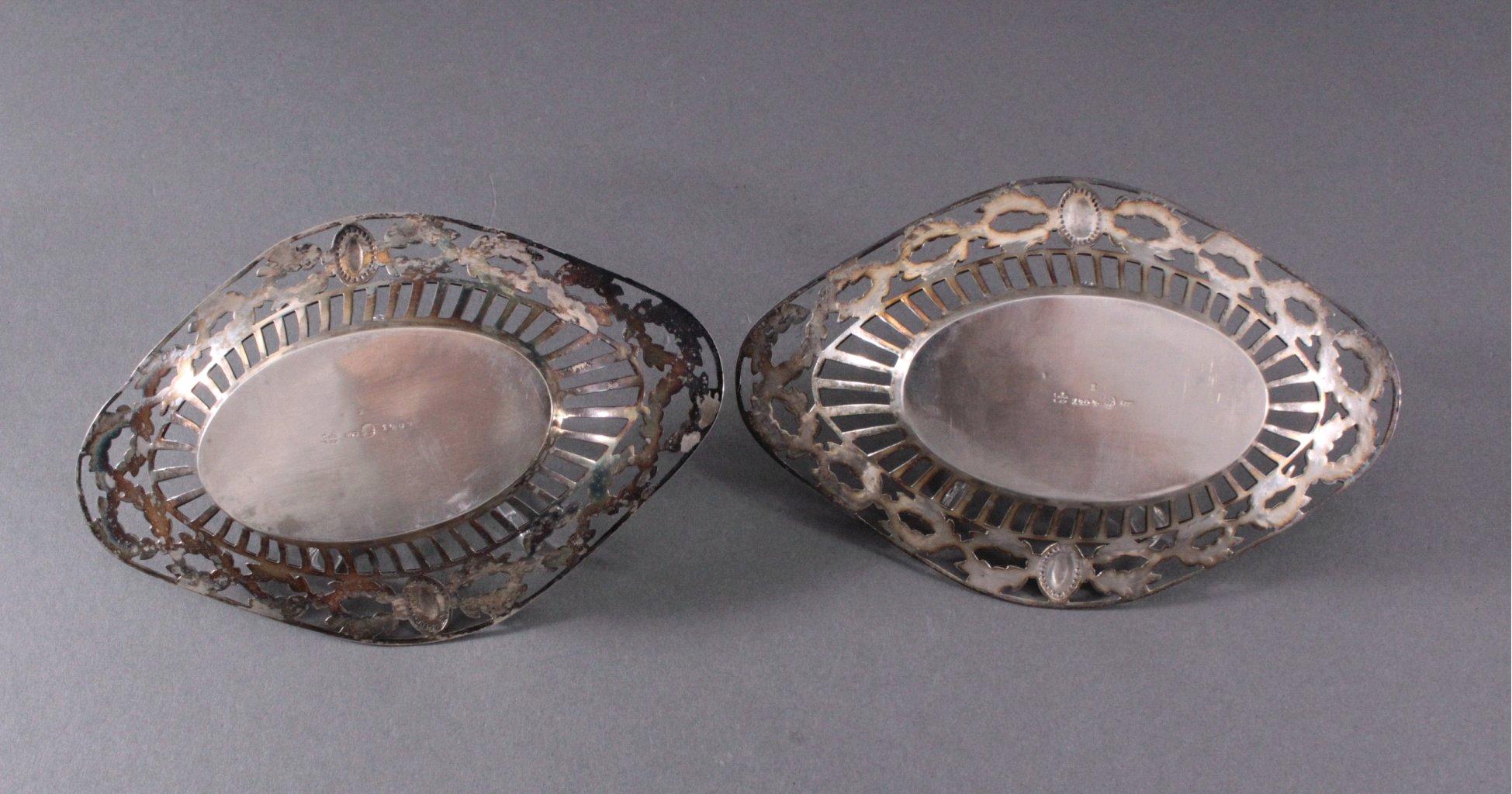 2 silberne Anbietschalen, 800er Silber, deutsche Punze-2