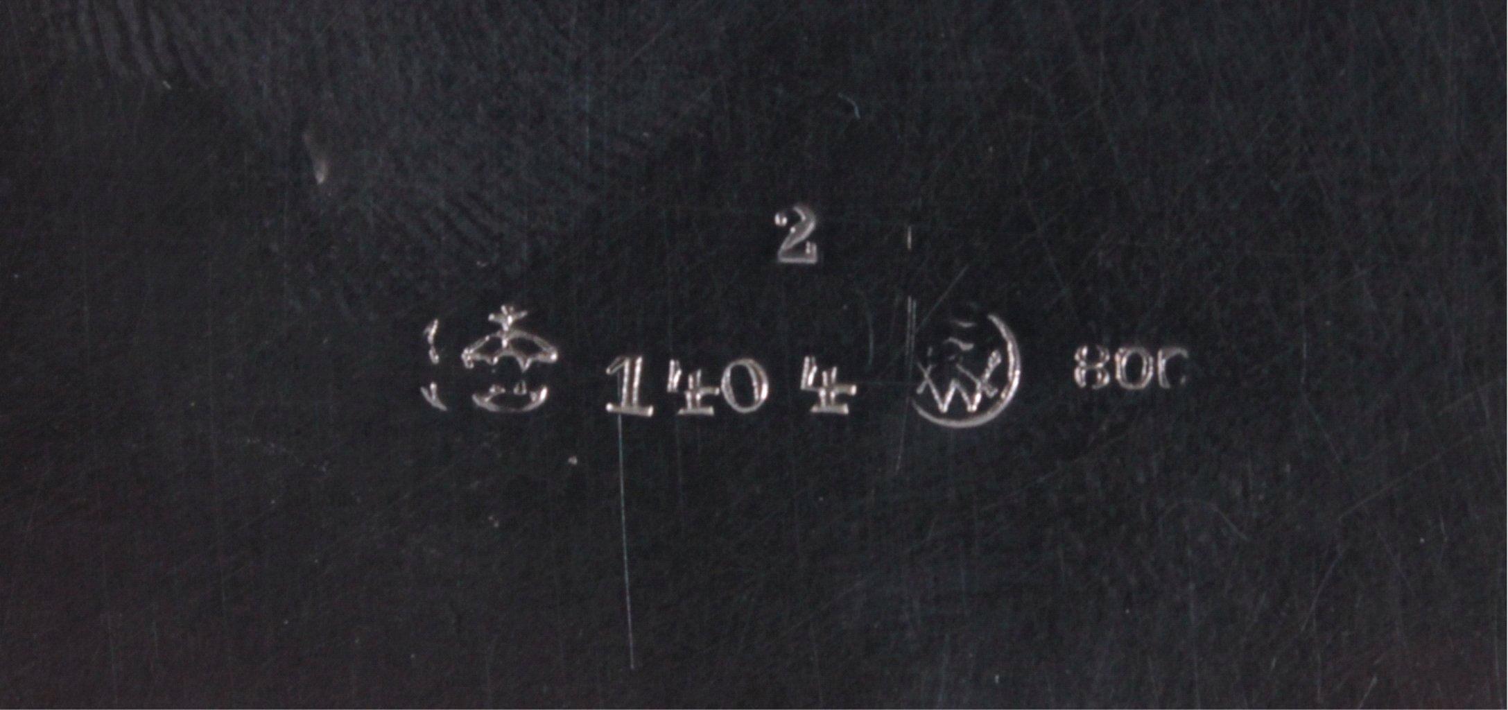 2 silberne Anbietschalen, 800er Silber, deutsche Punze-3