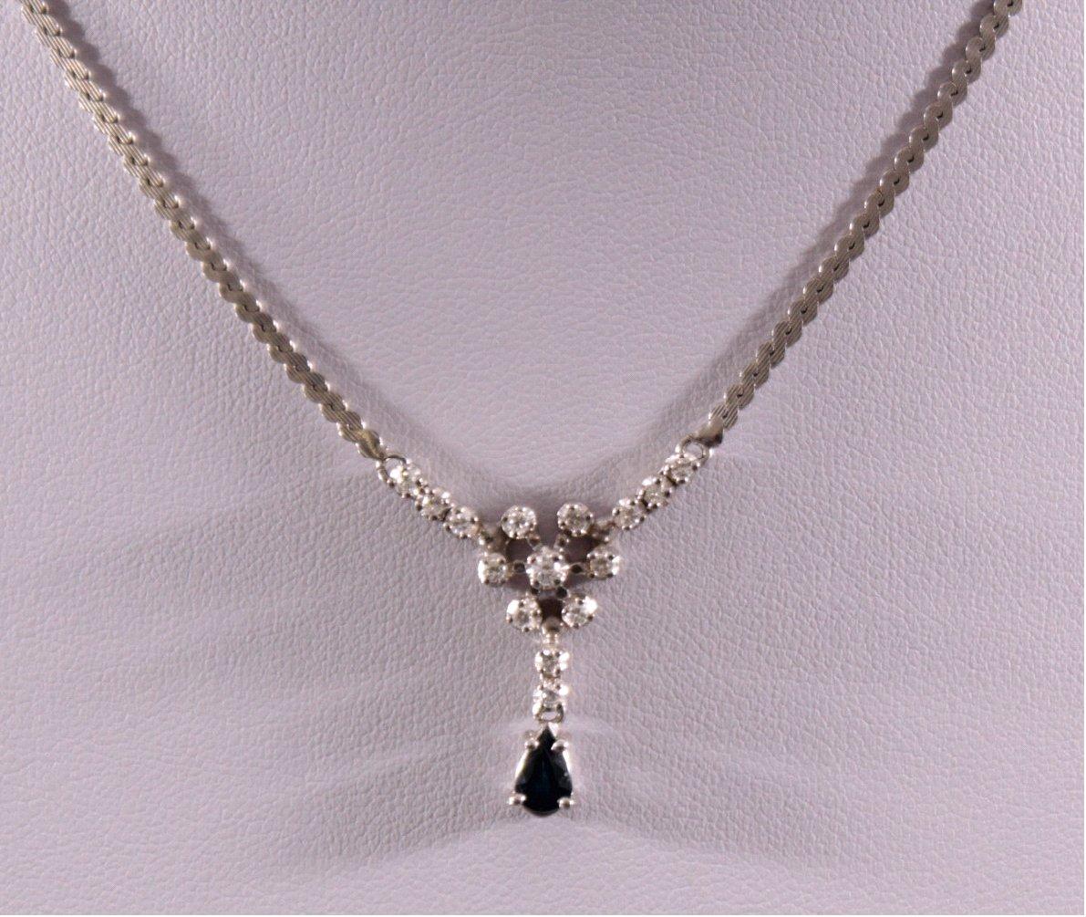 18 Karat Weißgold Damencollier mit Diamanten und Saphir-1