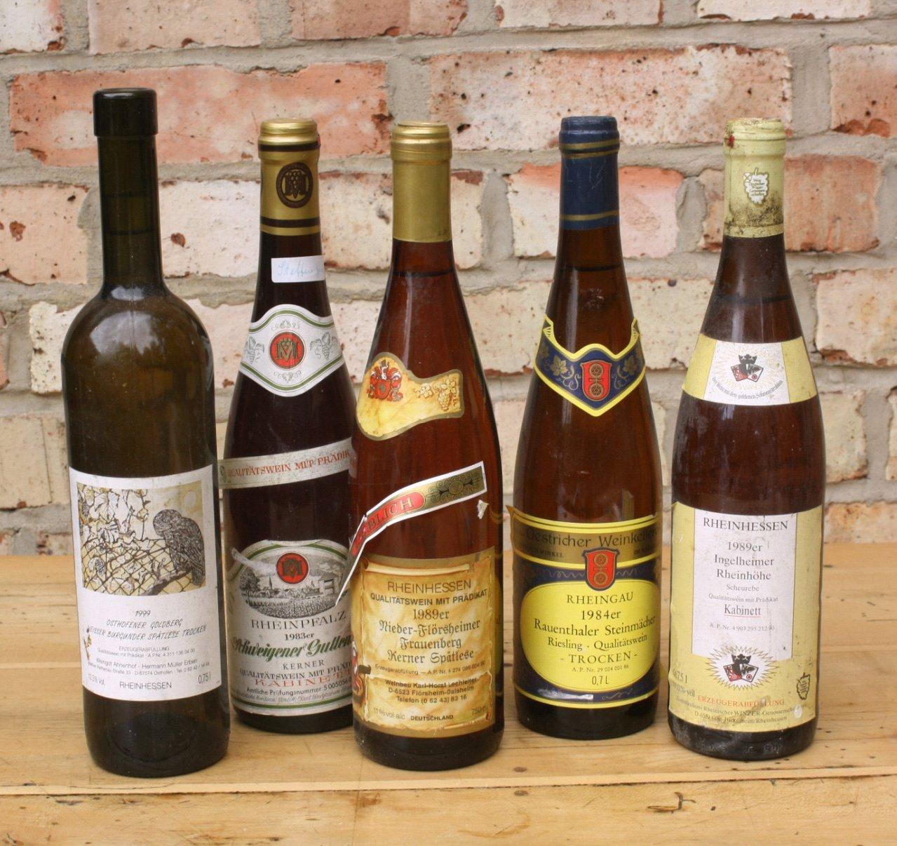 Konvolut Weißwein, 5 Flaschen