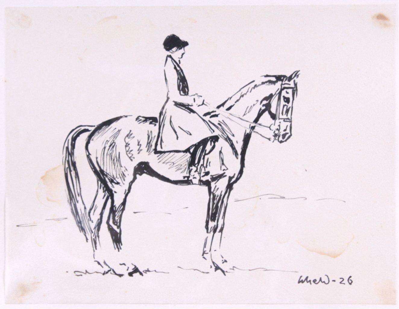 Tuschezeichnung, Frau auf einem Pferd