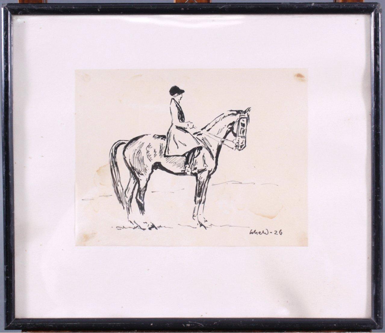 Tuschezeichnung, Frau auf einem Pferd-1