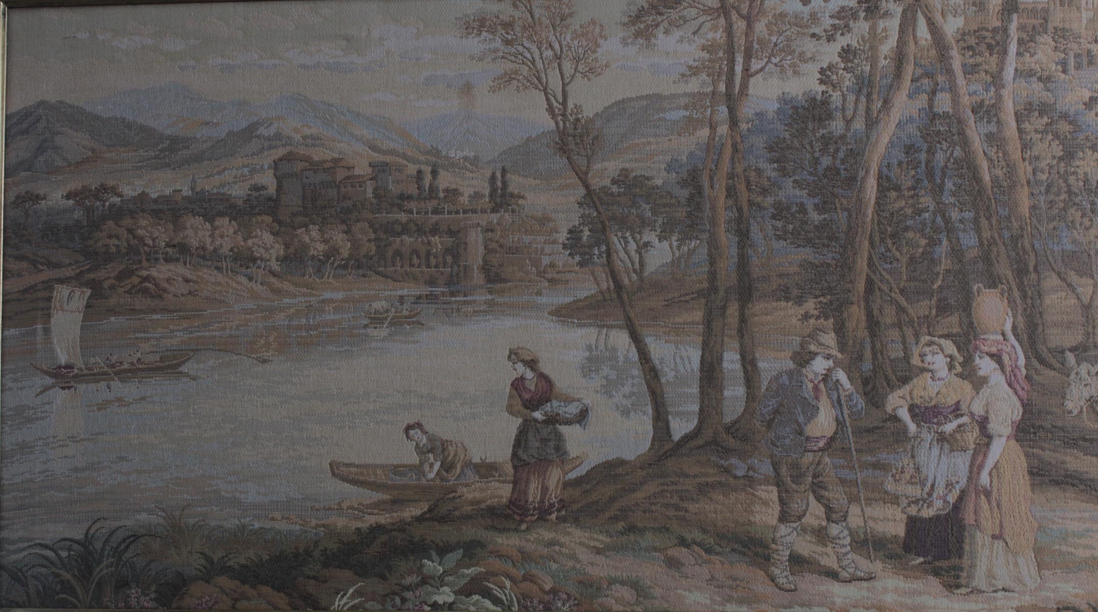 Großer Gobelin, mittelalterliche Szene, 2. Hälfte 20. Jh.-2