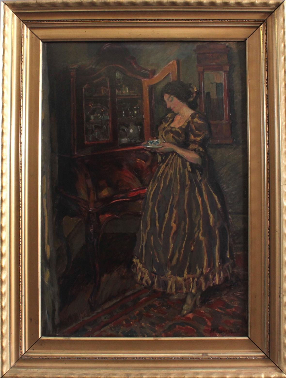 Hans Adolf Müller (1888-1934). 'Damen im Salon mit einer Tasse Tee'