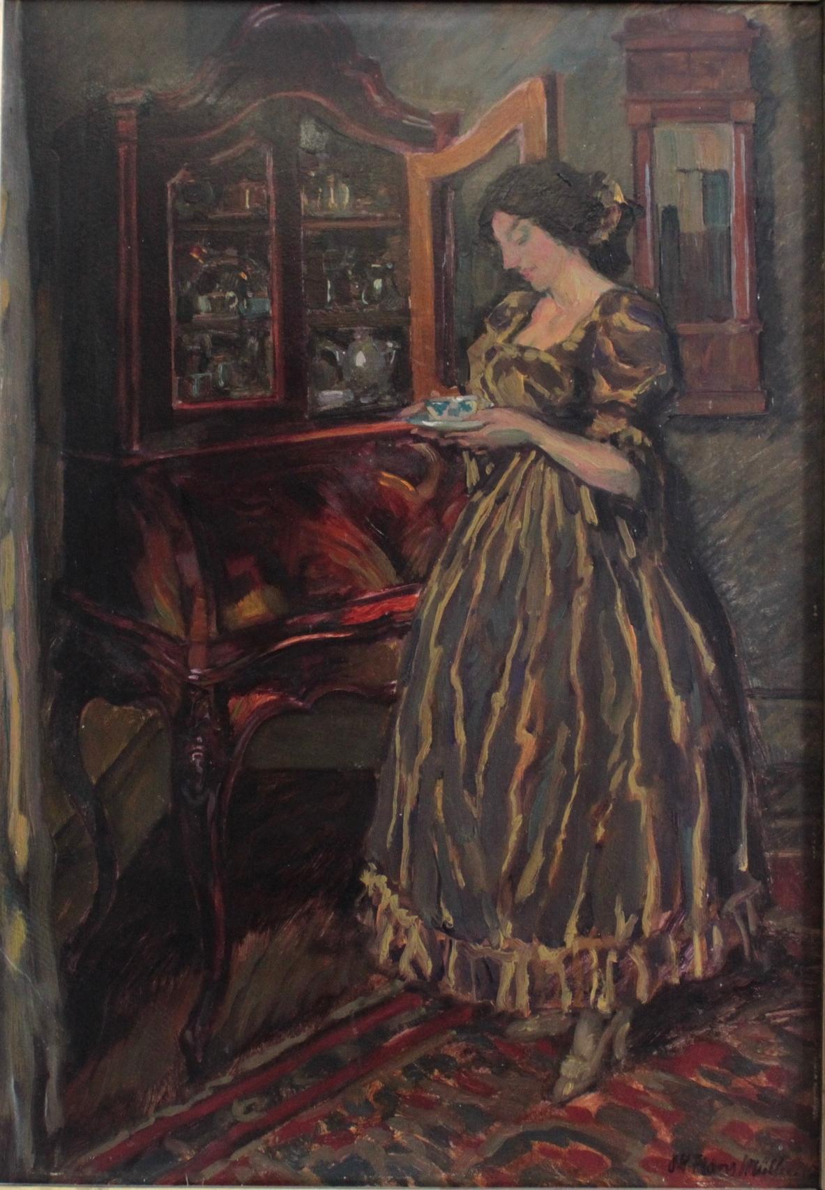 Hans Adolf Müller (1888-1934). 'Damen im Salon mit einer Tasse Tee'-2