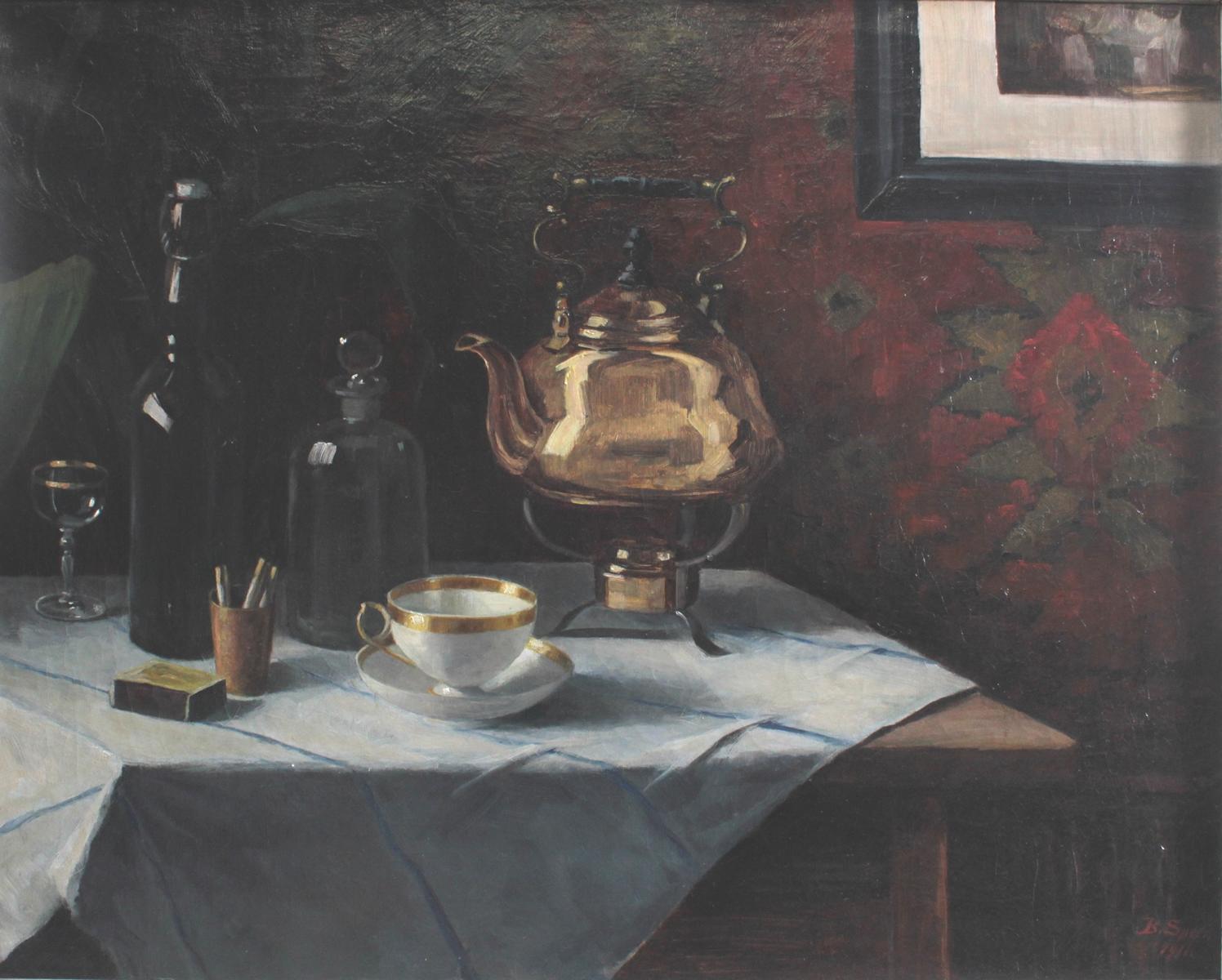 B. Speer. Stillleben mit Tee-Gedeck, Samovar, Zigaretten und Flaschen.-2