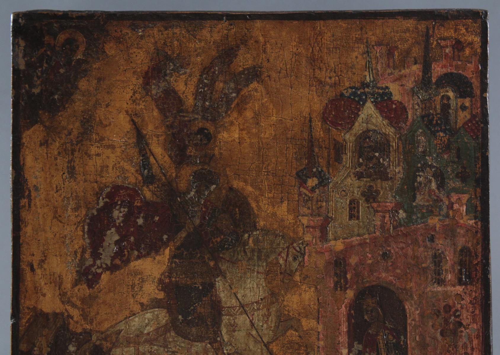 Ikone 'Heiliger Georg der Drachentöter', Russland 18. Jh.-2