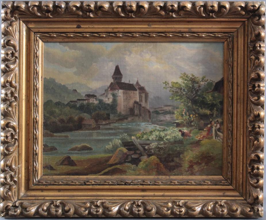 Burg am Fluss und Personen, 19. Jahrhundert