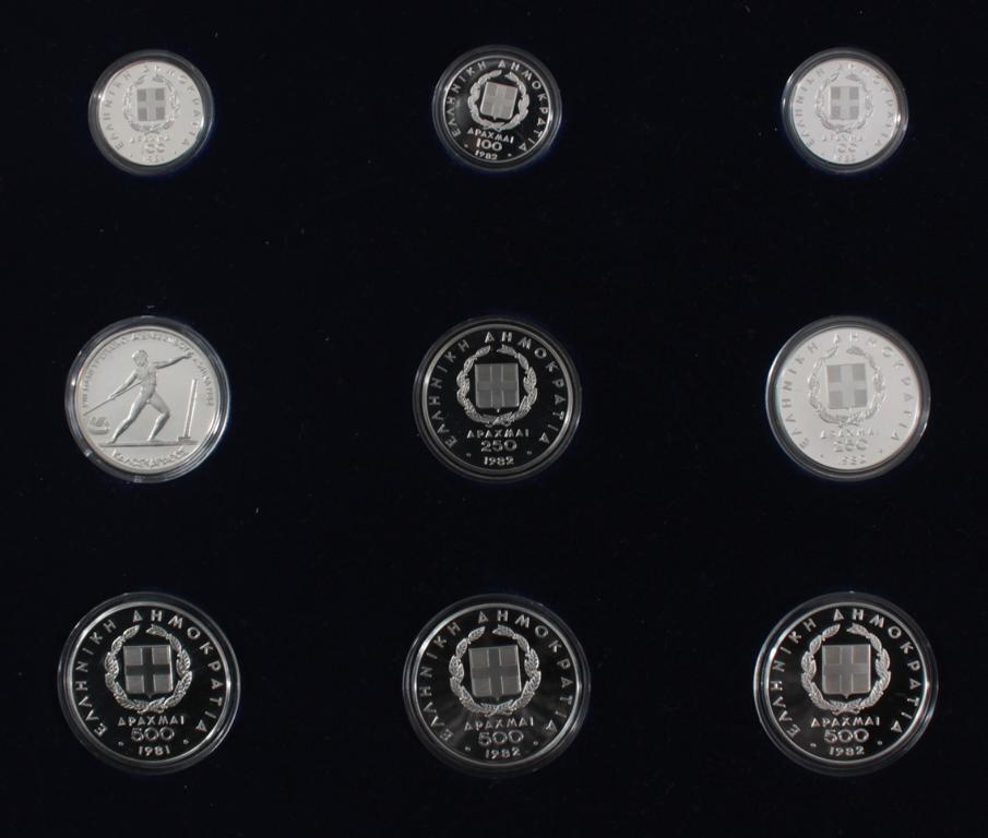 Griechenland, Olympische Spiele 1984, Silbermünzen in PP, Leichtathletik-5