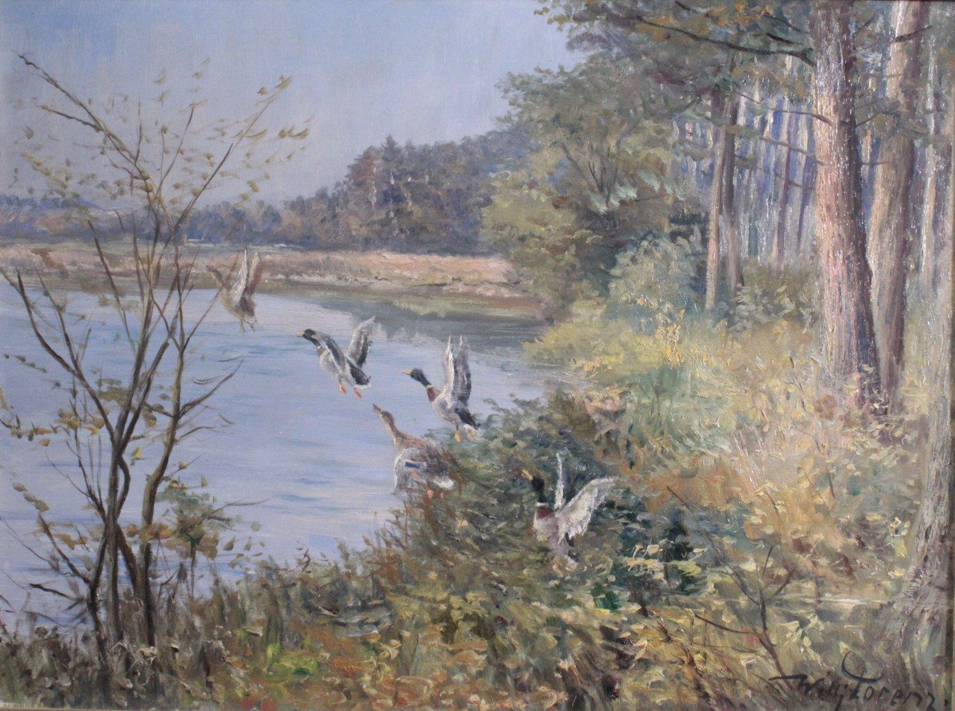Willi Lorenz (1901-1981). 'Aufsteigende Enten am See'-2