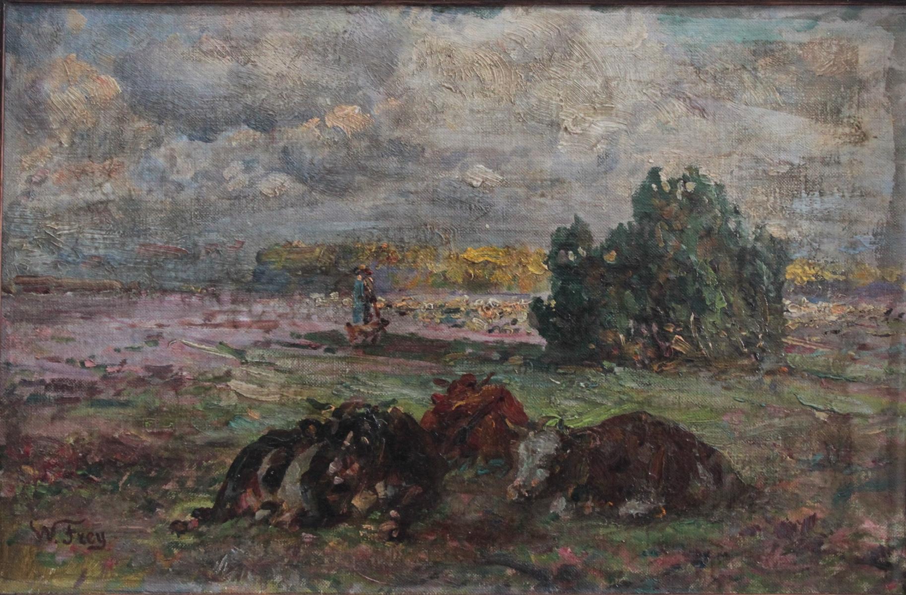 Wilhelm Frey (1826 – 1911), Hirtin mit liegenden Kühen auf der Weide-2