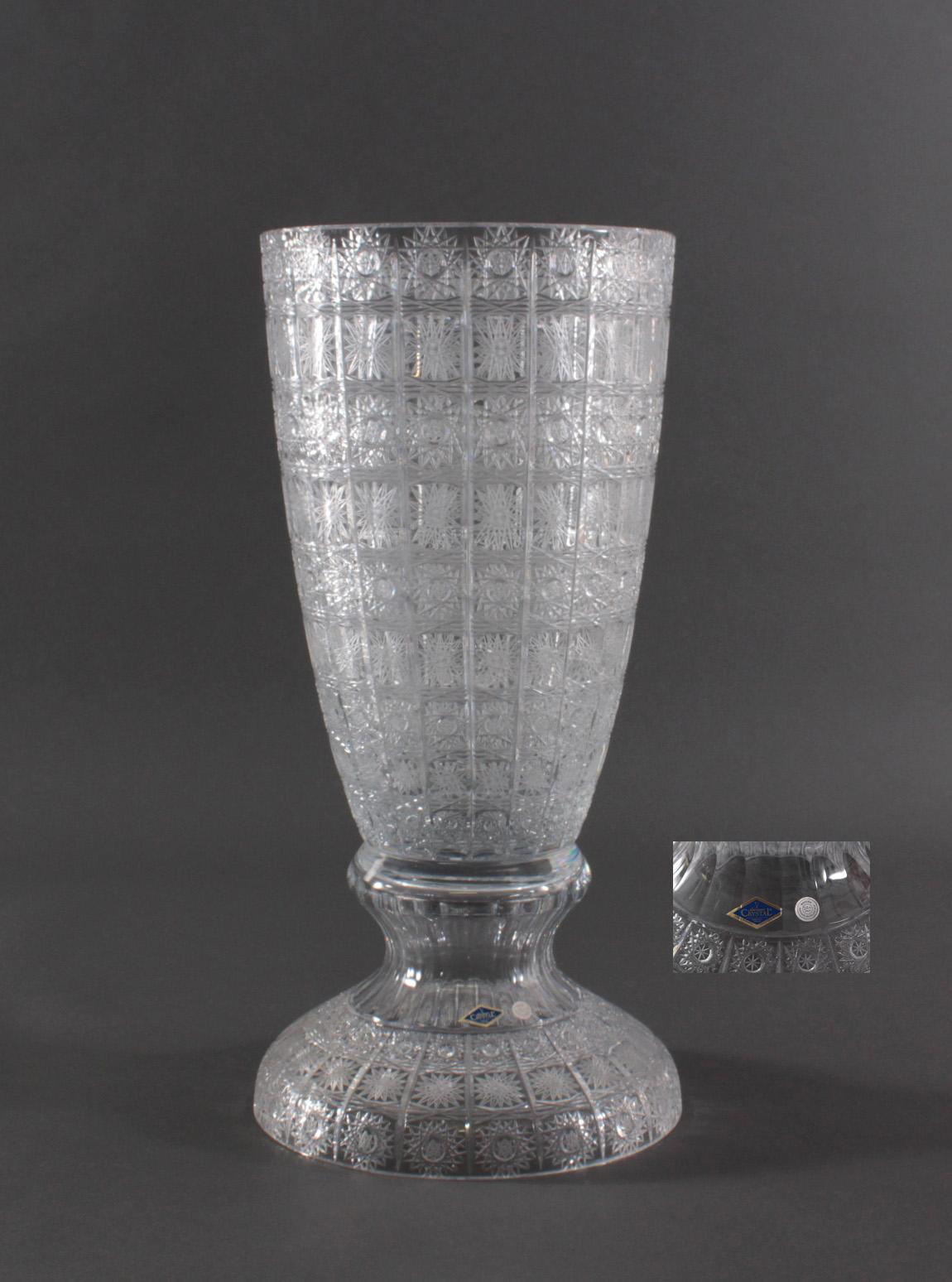 Sehr große dekorative Bleikristall-Vase. Bohemia Aurum-2