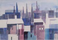 Aquarell, impressionistische Stadtansicht