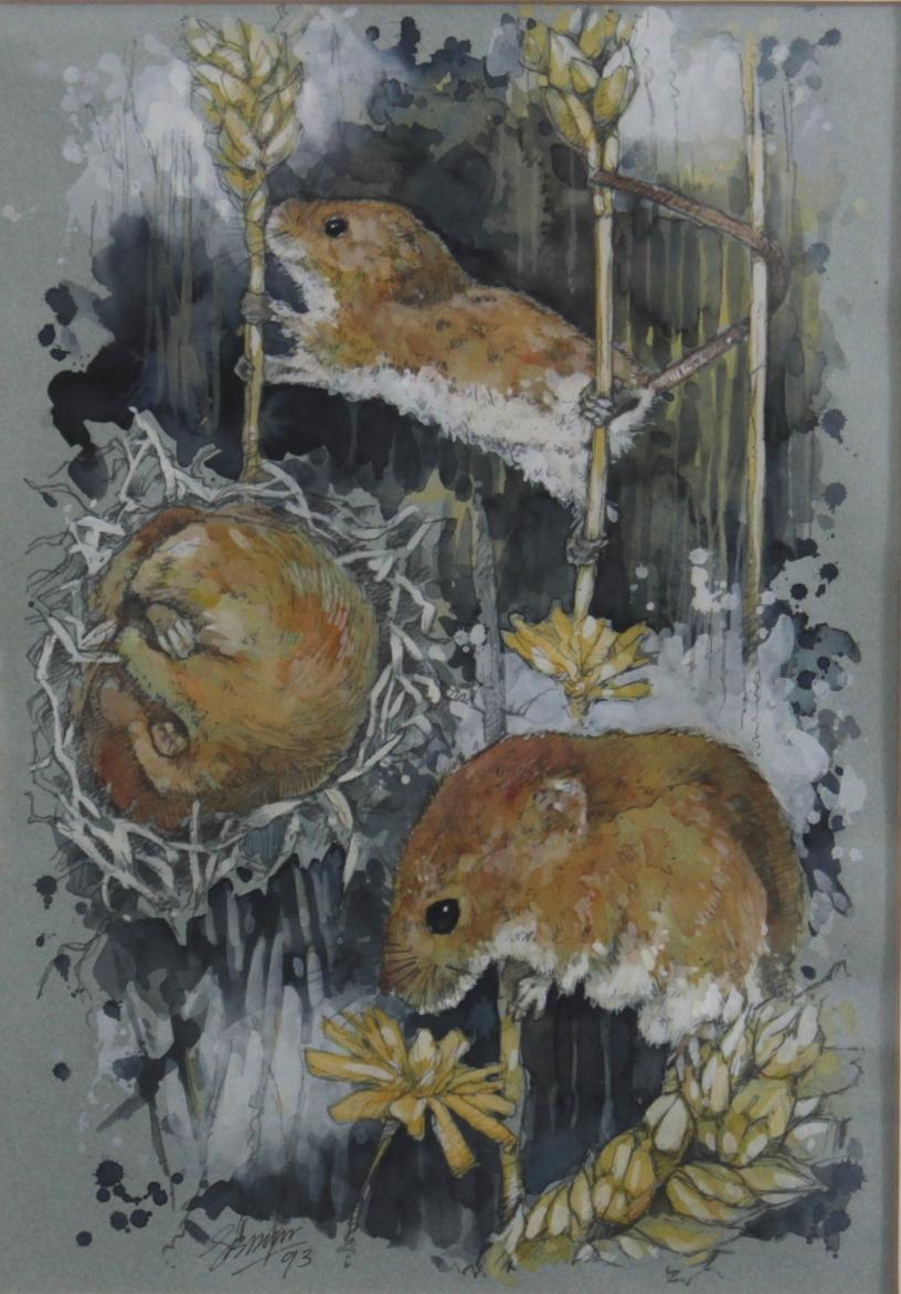 Aquarellmalerei. 'Ernte Mäuse'-2