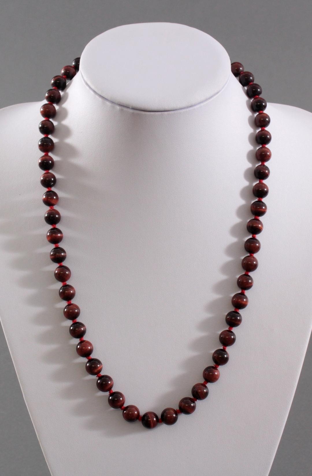 Damen-Halskette aus Tigerauge-Kugeln